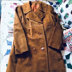 Vintage caramel suede pea coat